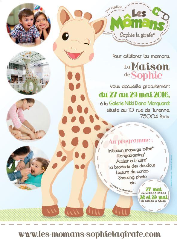 Evènement « les Mômans » du 27 au 29 mai avec Sophie la girafe. Entrée libre et gratuite.